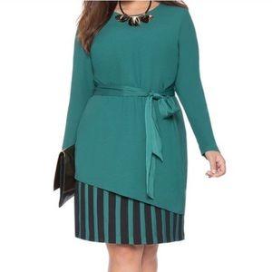 Eloquii Tie Waist Overlay Dress Striped Green Plus